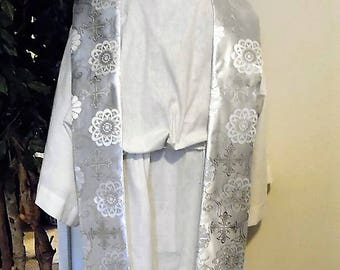White Satin Embroidered Clergy Stole - Wedding or Baptism Stole