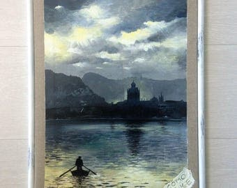 Lake Como painting and acrylic wall art painting. Landscape and lakescape picture. Original artwork. Lake Como painting. Painting handmade