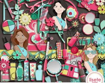 Beauty Salon digital scrapbook elements