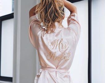 Bride Robe - Wedding Day Robe - Glitter Bridal Robe - Bride Satin  - Bridal Lingerie Shower Gift - Bridesmaid Robe -Blush Robe