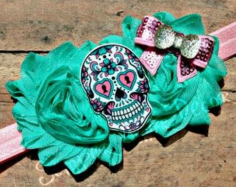 Sugar Skull Baby, Day Of The Dead Baby, Sugar Skull Headband, Skull Baby, Sugar Skull Bow, Dia De Los Muertos, Dia Muertos Costume, Hair Bow