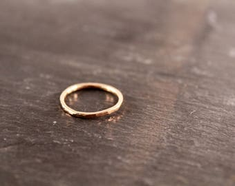 Thick Stacking Ring - ONE RING (Gold Sterling Silver Rose Gold Simple Hammered Minimalist Ring Gifts for her under 50)