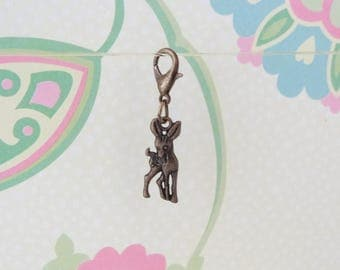 Bronze Double Sided Deer Clip On Bracelet Charm/Purse Charm/Zipper Pull Charm/Planner Charm - Ready to Ship