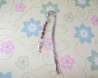 Silver Ichthys Religious Fisher of Men Charm with Purple Glass Crystal and Silver Beaded Bookmark/Bookhook - Ready to Ship