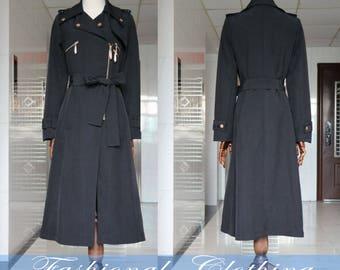 black long coat Dust coat winter coat spring autumn coat women clothing women coat long sleeve coat long jacket outerwear dress