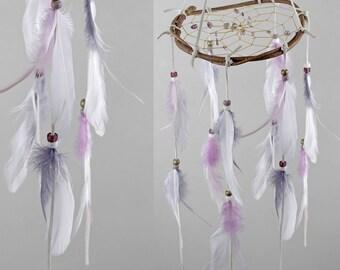Wooden Mobile Dreamcatcher, Bohemian Mobile, Boho Dream Catcher Mobile, Nursery Decor, Feather Mobile, White, Gray and Lilac Dream Catcher