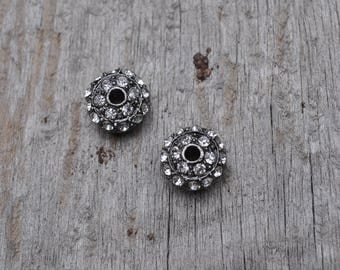 Gunmetal Pave Bead with Rhinestones