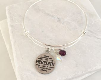 Meredith College Bracelet/Meredith College Bangle/Meredith College Gifts/Meredith College Jewelry/Maroon and White/Avenging Angels
