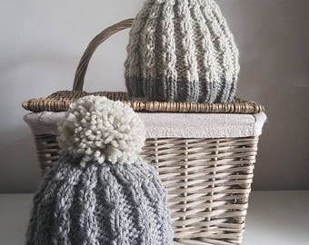Mock Cable Ladies Bobble Hat Knitting Pattern PDF | Bobble Hat Knitting Pattern | The Little Songbird Knitting Co.