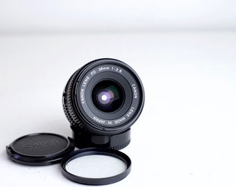 Canon FD 28mm F/2.8 Prime Wide Angle Lens for FD Mount with Front and Rear Caps