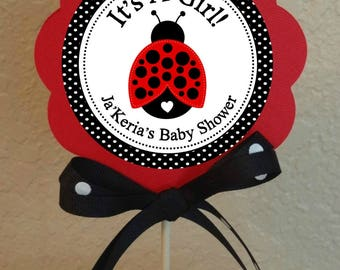 """PERSONALIZED LADYBUG It's A Girl Centerpiece DIY Project 5"""" Center Circle Baby Shower Printable file"""
