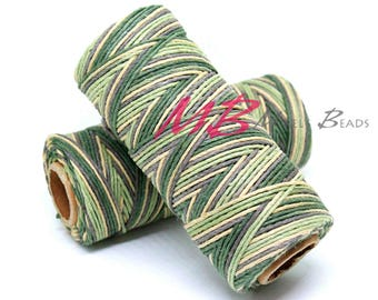 Camouflage Green Hemp Cord, Green Tones 20 lb Natural Hemp Cord Spool, Mixed Greens Color Macrame, Earthy Green Mix Hemp String
