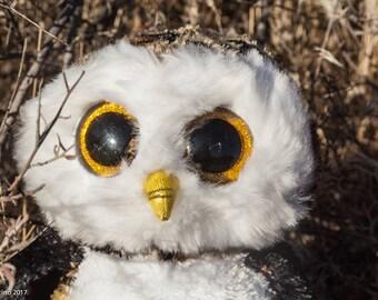 Owl Plush-Beanie Boo-Owl Plush-Night Light-Light Up-Owl Stuffed Animal-Owl-Fan Art-Upcycled-Repurposed