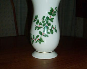 """Vintage Lenox Holiday Fine China  (Dimension shape) Gold Large Footed Vase with Scalloped Top - 8"""" -  Holly and Berries Design"""