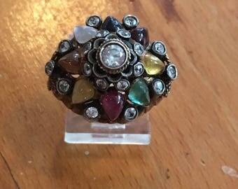 Vintage 14K Multi Gemstone Harem Ring