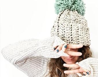 Oversized Beanie with Pom - Hat with pompom, chunky knit pompom hat, slouchy hat, pompom beanie, chunky knit slouchy hat, hipster hat