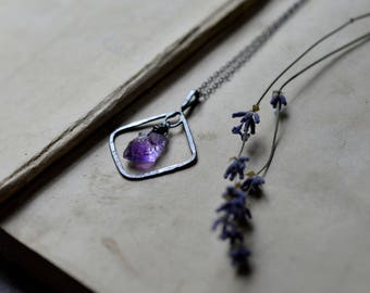 Rustic Amethyst Pendant / Sterling Silver Hoop Necklace / Raw Amethyst Crystal Necklace / Handmade Hammered Ring / Raw Gemstone Pendant
