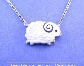 Cute Little Mountain Goat Shaped Minimal Charm Necklace in Silver | Handmade Animal Jewelry