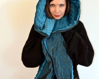 blue satin hood, with blue inside