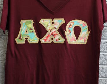 Alpha Chi Omega Maroon Bella Flowy V-Neck With Amy Butler Bliss Bouquet on Gold Metallic (254C)