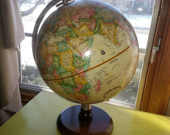 """Vintage Mid Century Replogle 9"""" World Classic Series Globe with Wood Stand"""