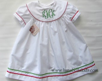 Christmas Dress for girls, christmas clothing monogram, christmas dress baby girl, Baby Girl Christmas, Monogram Dress, infant dress 3T, 4T