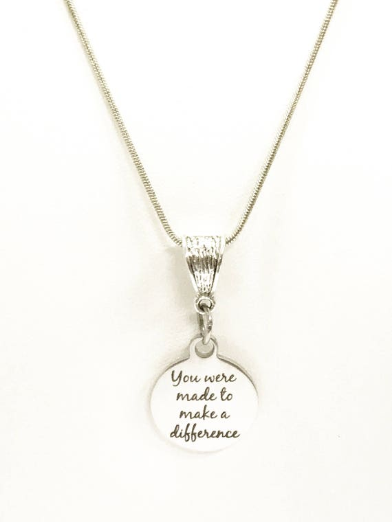 Encouragement Jewelry Gift, You Were Made To Make A Difference Necklace, Encouragement Necklace, Motivational Jewelry, Gift for Daughter