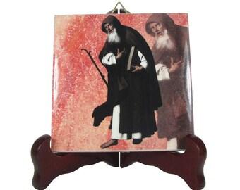 Saint Anthony the Great - St Anthony icon on ceramic tile - handmade in Italy - St Anthony - Anthony the Abbot - catholic saints