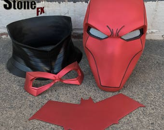 Red Hood helmet bundle in Matte Hot Metallic Red w neck piece, chest emblem (choose from 4) & FREE face mask worth GBP 43.99 (choose from 5)