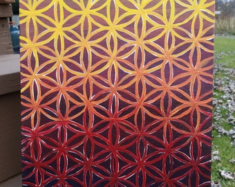 """Flower of Life Painting, Original 12x16"""" Painting, Psychedelic Art, Sacred Geometry Painting, Acrylic Painting,"""