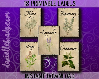 18 Printable Herbs and Spice Labels Apothecary Collage Sheet Instant Download