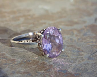 Kabana Sterling Silver and Amethyst Ring with Pierced Setting - Size 8