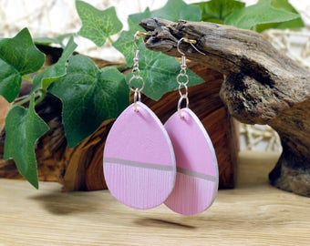 Light Pink // Hand Painted Wooden Earrings // Large // Teardrop