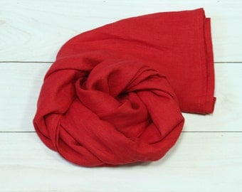 Red linen scarf- summer scarf- scarf for women- natural linen scarf- head scarf- linen shawl- red shawl- scarf- cancer scarves