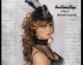 Gothic Fascinator Beetlejuice BLACK and WHITE STRIPED