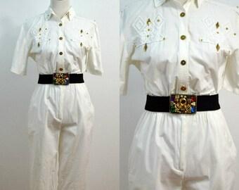 1980s St. Germaine Paris Jumpsuit / 80s Vintage Jumpsuit / One Piece Pantsuit / White Pantsuit / Small S / Medium M / Cotton Romper