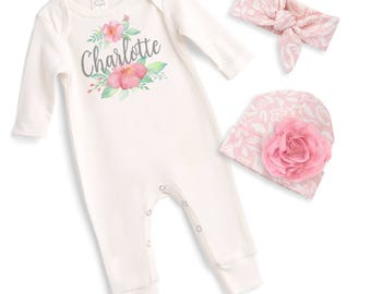 Custom Newborn Girl Coming Home Outfit, Monogram Baby Girl Outfit, Baby Girl Take Home Romper, Personalized Baby Girl Tesababe