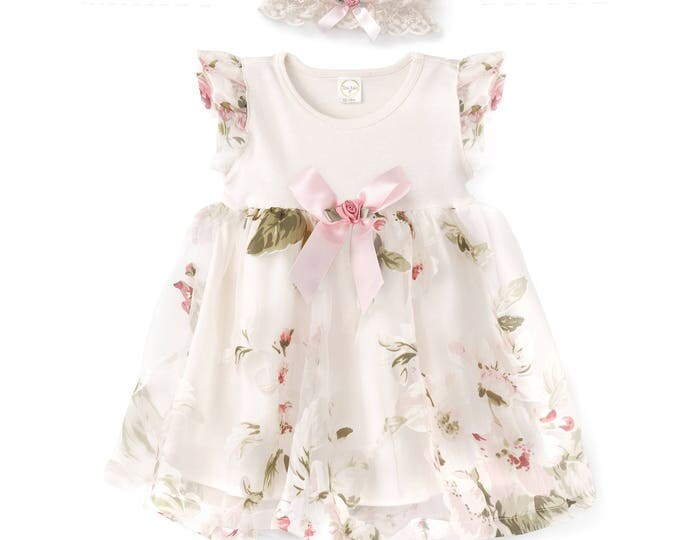 Easter Baby Girl Dress, Newborn Girl Outfit, Easter Baby Girl Onesie Skirted Romper Pink Floral, Girl Dress Romper Pink Bow, Lace Headband