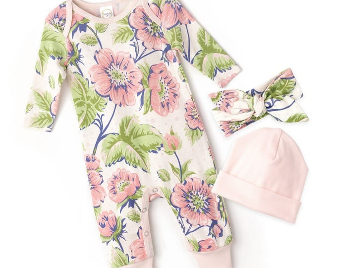 Newborn Girl Coming Home Outfit, Newborn Girl Bodysuit, Baby Girl Take Home, Newborn Girl Bodysuit Rose Floral Romper Tesababe