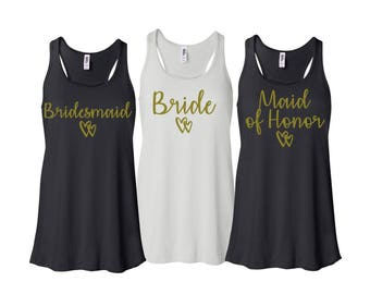 Bridesmaid Gift, Bridesmaid Shirts, Flowy Tanktops, Bridesmaid Flowy Tank tops, Bachelorette Party Shirts
