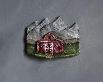 Refrigerator Magnet, Red Barn, Rustic Magnet, Mountain Art, Refrigerator Art, Western Decor, Barn Art, Rustic Kitchen Decor, Clay Magnet