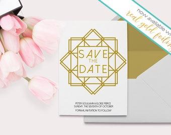 Roaring 20s Invitation - Gold Geometric - Great Gatsby Invitation - Geometric Wedding - Gold Foil Invitation - Geometric Invitations