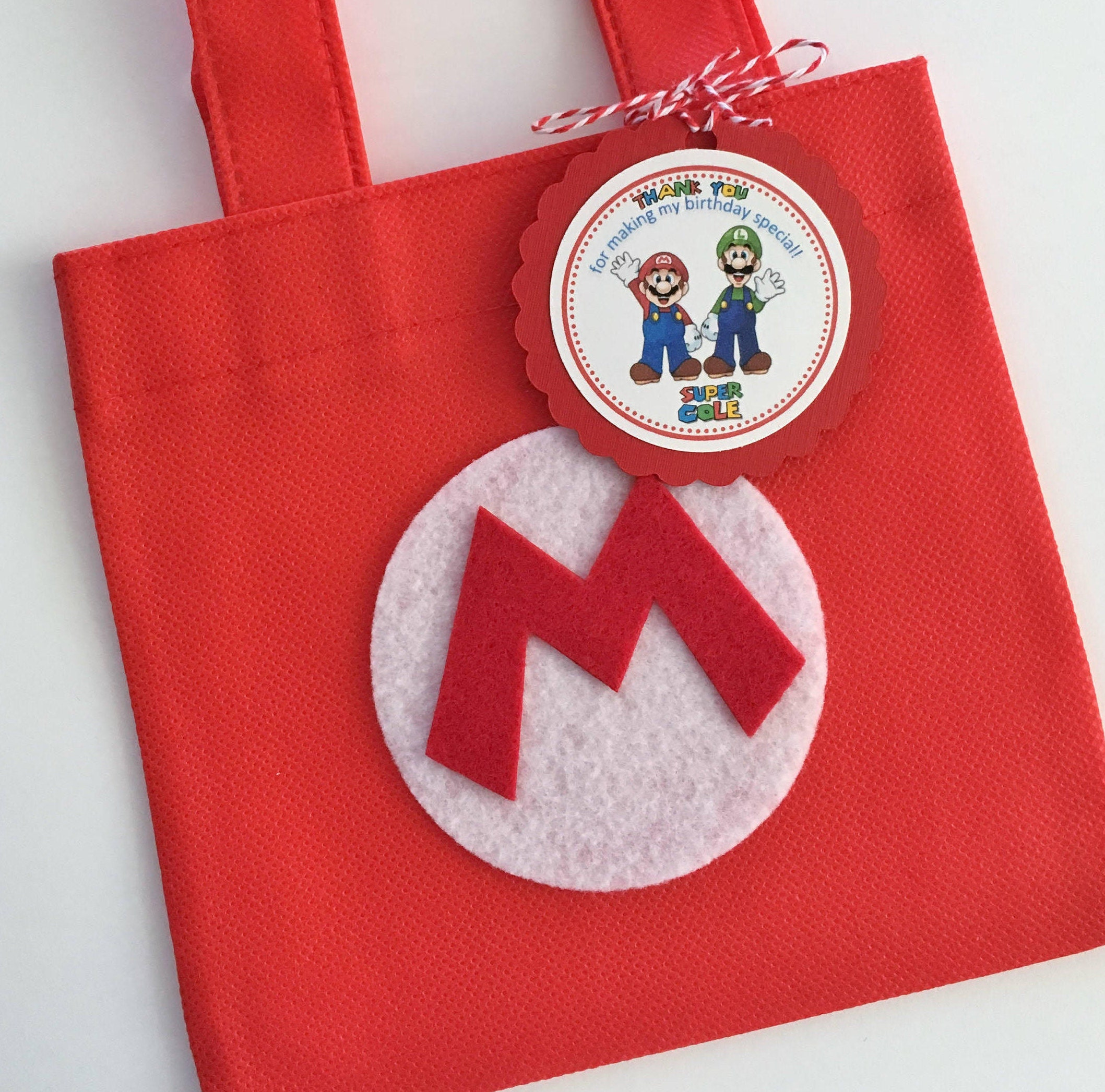 set of 12 super mario bros favor bags with personalized thank