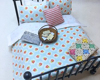 Miniature Dollhouse Duvet Bedding Set - Beautiful Soft Blue with Coral Flowers -Queen/Double