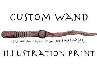 Custom Pottermore Wand Illustration Print