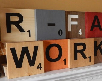 "Wood Scrabble Tiles Large 5.5""x5.5""! FREE SHIPPING! Hanging or Display Wall Art! Home Decor! Custom Options Available!"