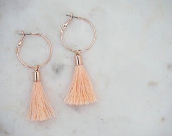 Peach Tassel and Gold Hoop Earrings