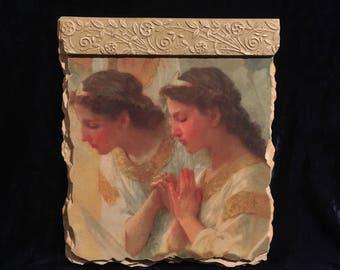 Vintage Angels Praying Wall Fresco