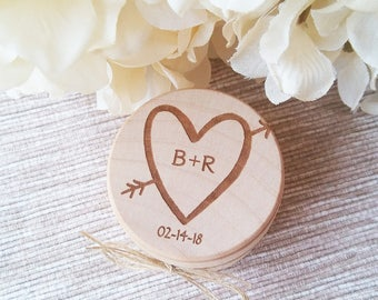 Engraved Wedding Ring Box, Wooden Ring Box, Ring Bearer Box, Engraved Wooden Box, Heart and Initials Ring Box with Burlap, Wedding Gift