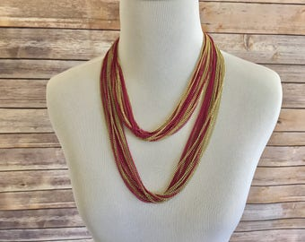 Gold Toned Metal and Fuchsia Multi-Strand Curb Chain Necklace - Gold and Pink Multistrand Necklace